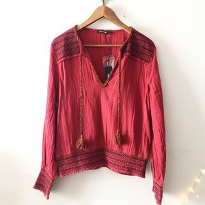 NWT Love Sam Cranberry Smocked Beaded Tassel Top